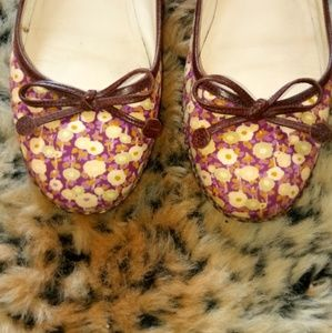 Marc Jacobs spring floral leather bow flats